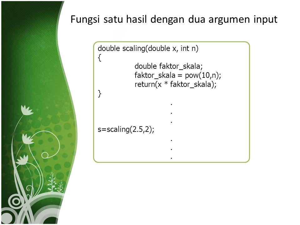 Fungsi satu hasil dengan dua argumen input double scaling(double x, int n) { double faktor_skala; faktor_skala = pow(10,n); return(x * faktor_skala);