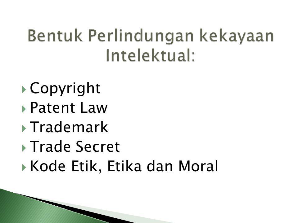 Copyright atau Hak Cipta merupakan perlindungan hukum terhadap kekayaan intelektual yang ditujukan untuk memberikan penghargaan atas kepemilikannya dari penggunaan pihak lain menaungi hasil ekspresi otentik seseorang mencakup hal nyata yang dapat dilihat, didengar atau disentuh, mencakup karya yang sudah atau belum dan bahkan tidak dipublikasikan Simbol Copyright : © atau (c) atau (C)