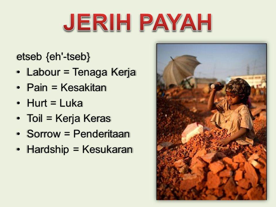 etseb {eh'-tseb} •Labour = Tenaga Kerja •Pain = Kesakitan •Hurt = Luka •Toil = Kerja Keras •Sorrow = Penderitaan •Hardship = Kesukaran