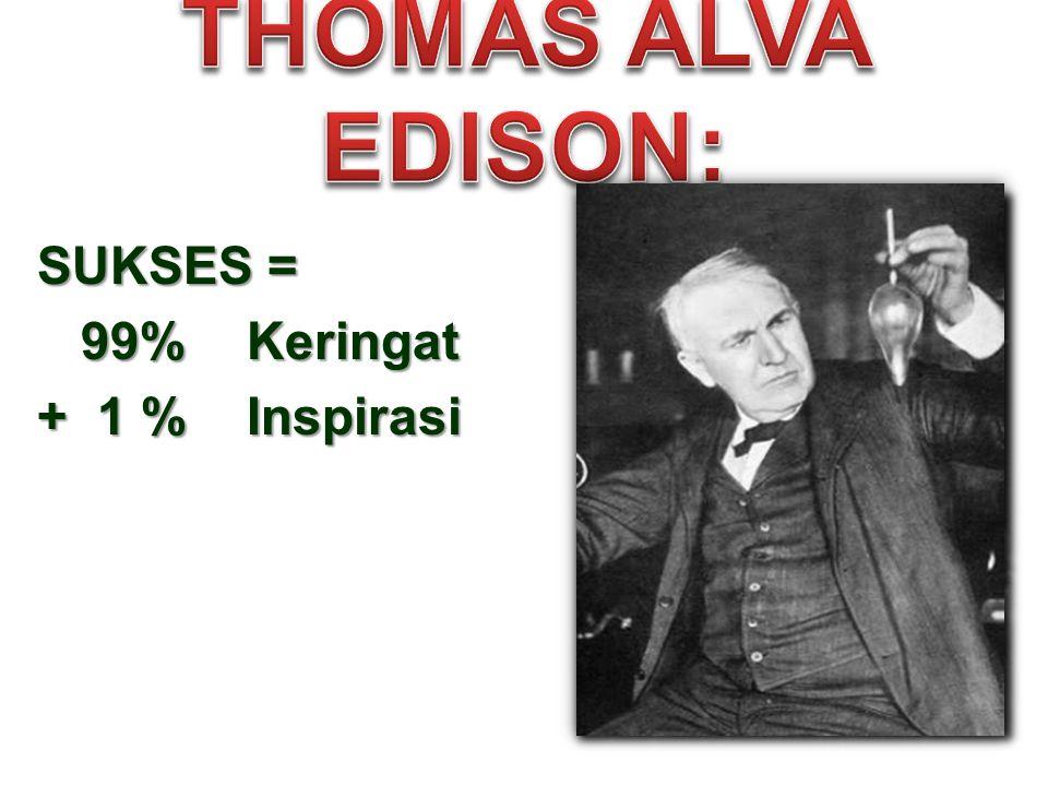 SUKSES = 99% Keringat 99% Keringat + 1 % Inspirasi
