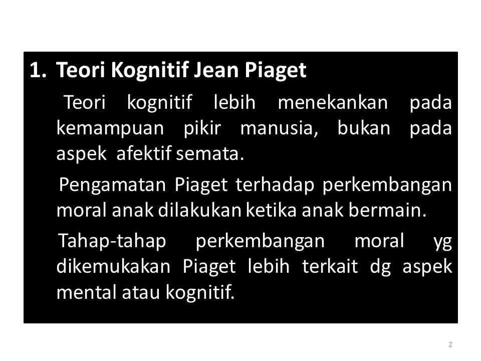 1.Teori Kognitif Jean Piaget Teori kognitif lebih menekankan pada kemampuan pikir manusia, bukan pada aspek afektif semata. Pengamatan Piaget terhadap