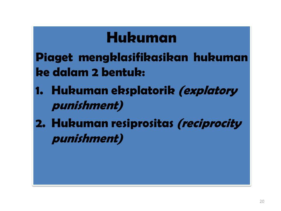 Hukuman Piaget mengklasifikasikan hukuman ke dalam 2 bentuk: 1.Hukuman eksplatorik (explatory punishment) 2.Hukuman resiprositas (reciprocity punishme