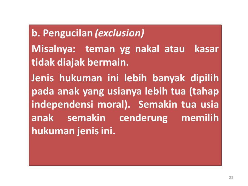b. Pengucilan (exclusion) Misalnya: teman yg nakal atau kasar tidak diajak bermain. Jenis hukuman ini lebih banyak dipilih pada anak yang usianya lebi