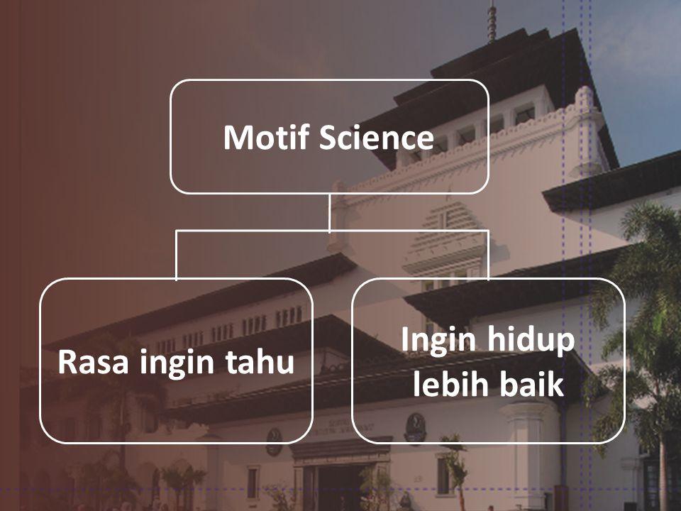 Motif Science Rasa ingin tahu Ingin hidup lebih baik