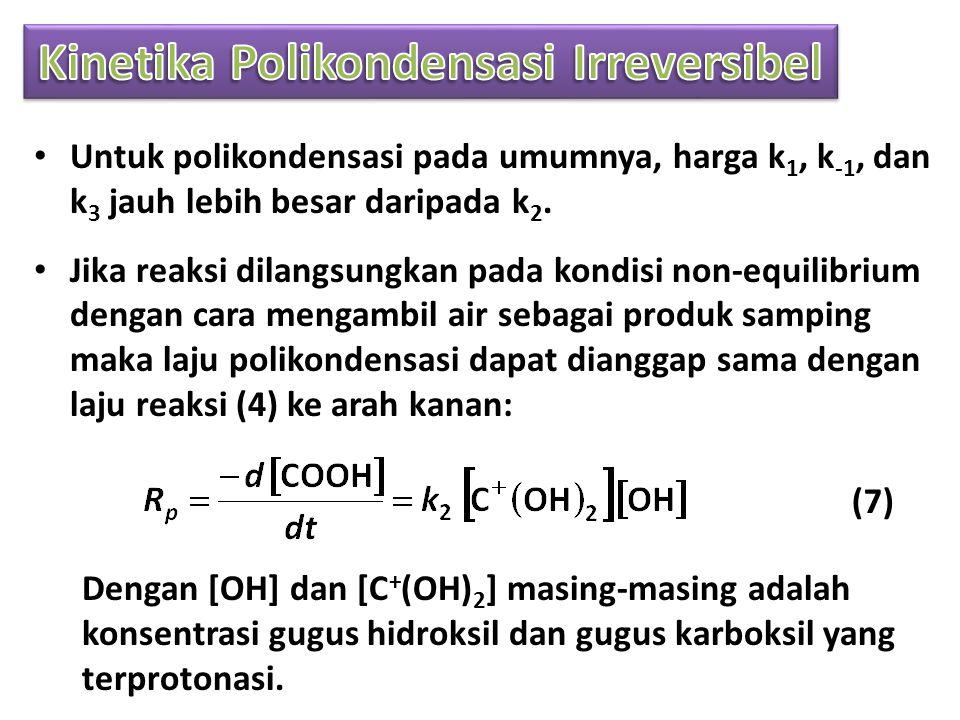 • Untuk polikondensasi pada umumnya, harga k 1, k -1, dan k 3 jauh lebih besar daripada k 2.