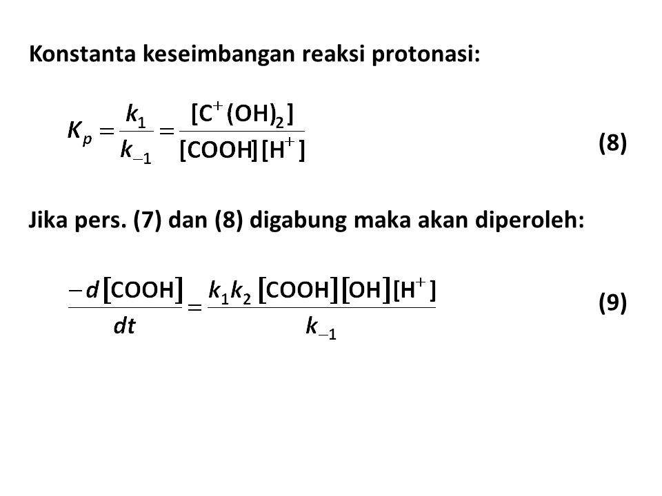 Konstanta keseimbangan reaksi protonasi: (8) Jika pers.