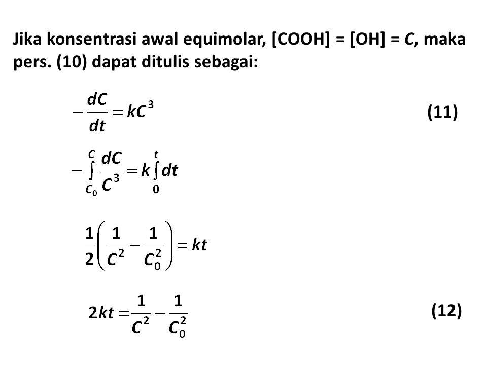 Jika konsentrasi awal equimolar, [COOH] = [OH] = C, maka pers.