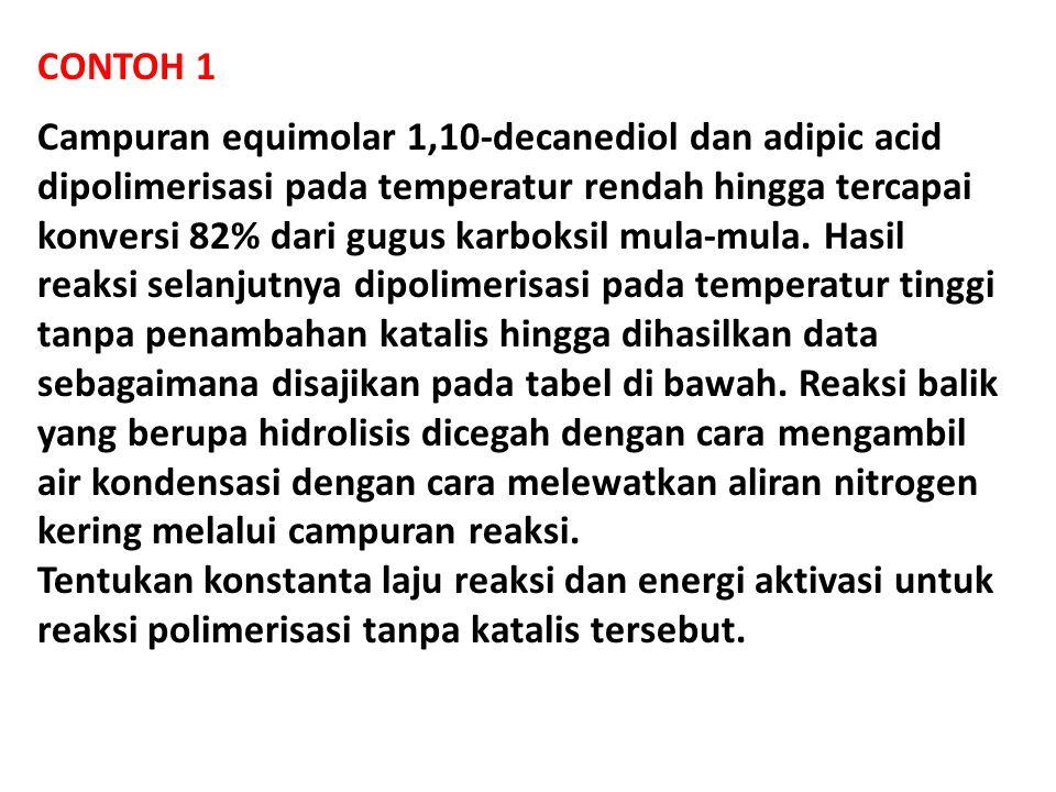 CONTOH 1 Campuran equimolar 1,10-decanediol dan adipic acid dipolimerisasi pada temperatur rendah hingga tercapai konversi 82% dari gugus karboksil mula-mula.
