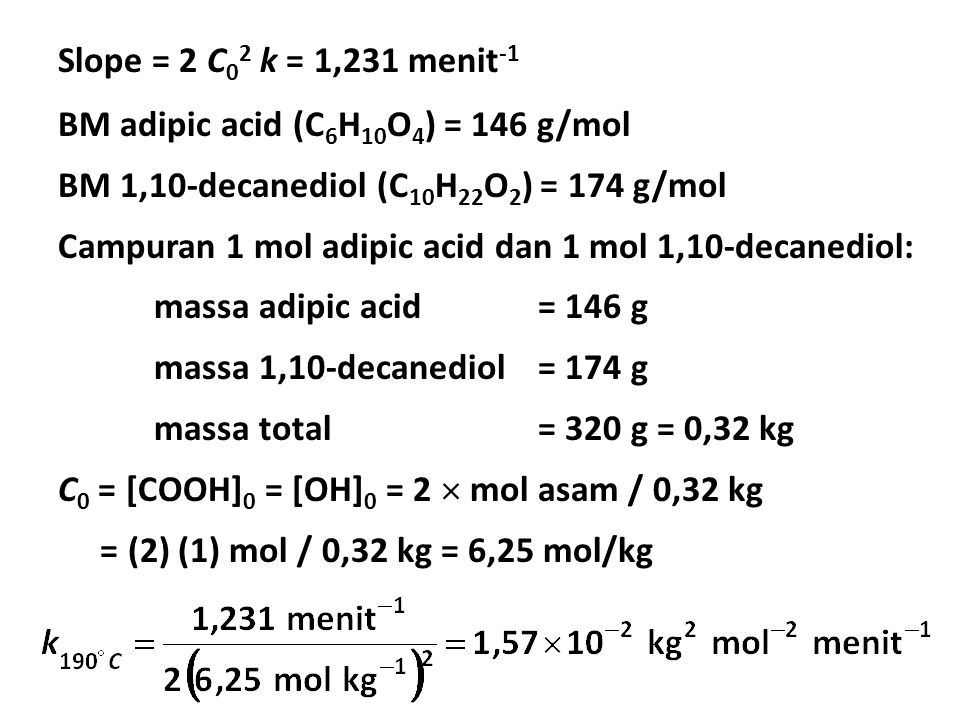 Slope = 2 C 0 2 k = 1,231 menit -1 BM adipic acid (C 6 H 10 O 4 ) = 146 g/mol BM 1,10-decanediol (C 10 H 22 O 2 ) = 174 g/mol Campuran 1 mol adipic acid dan 1 mol 1,10-decanediol: massa adipic acid = 146 g massa 1,10-decanediol= 174 g massa total= 320 g = 0,32 kg C 0 = [COOH] 0 = [OH] 0 = 2  mol asam / 0,32 kg = (2) (1) mol / 0,32 kg = 6,25 mol/kg