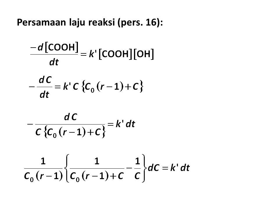 Persamaan laju reaksi (pers. 16):