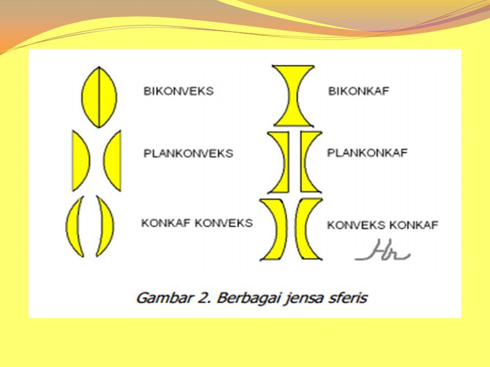 Pembiasan cahaya pada lensa sferis Pembiasan cahaya adalah peristiwa pembelokan cahaya jika media yang dilalui oleh cahaya berlainan.