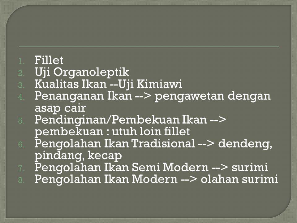 1. Fillet 2. Uji Organoleptik 3. Kualitas Ikan --Uji Kimiawi 4. Penanganan Ikan --> pengawetan dengan asap cair 5. Pendinginan/Pembekuan Ikan --> pemb