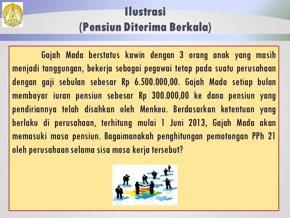 Pensiun Diterima Berkala 101 Bila waktu pensiun sudah dapat diketahui dengan pasti pada awal tahun.