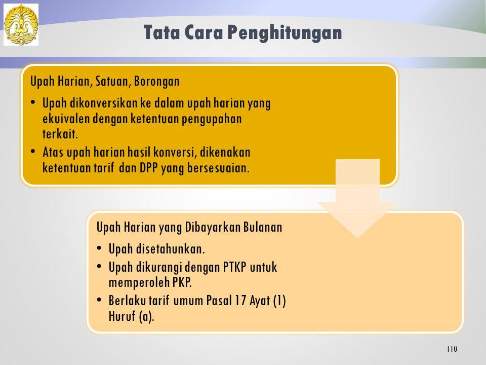 Pola Pembayaran Penghasilan Pegawai Tidak Tetap dan Tenaga Kerja Lepas Upah HarianUpah Satuan Upah Borongan Upah Harian yang Dibayarkan Bulanan 109