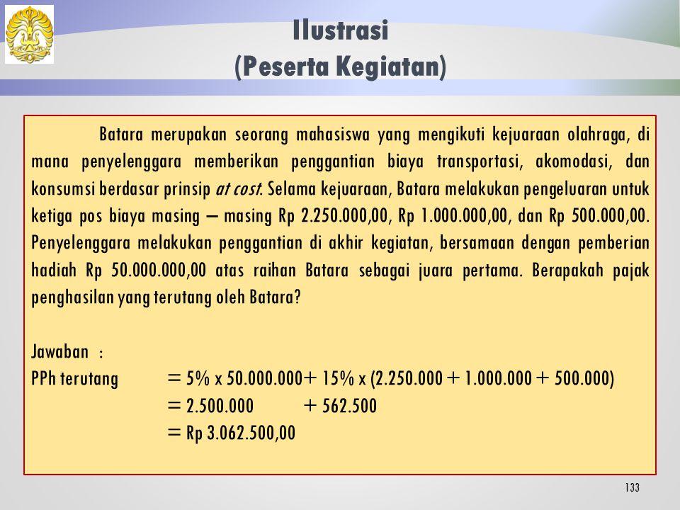 Tata Cara Penghitungan 132 Dasar Pengenaan Pajak (DPP) = Jumlah penghasilan bruto yang bersifat utuh dan tidak dipecah Tarif yang berlaku adalah tarif umum Pasal 17 Ayat (1) Huruf (a) UU PPh.