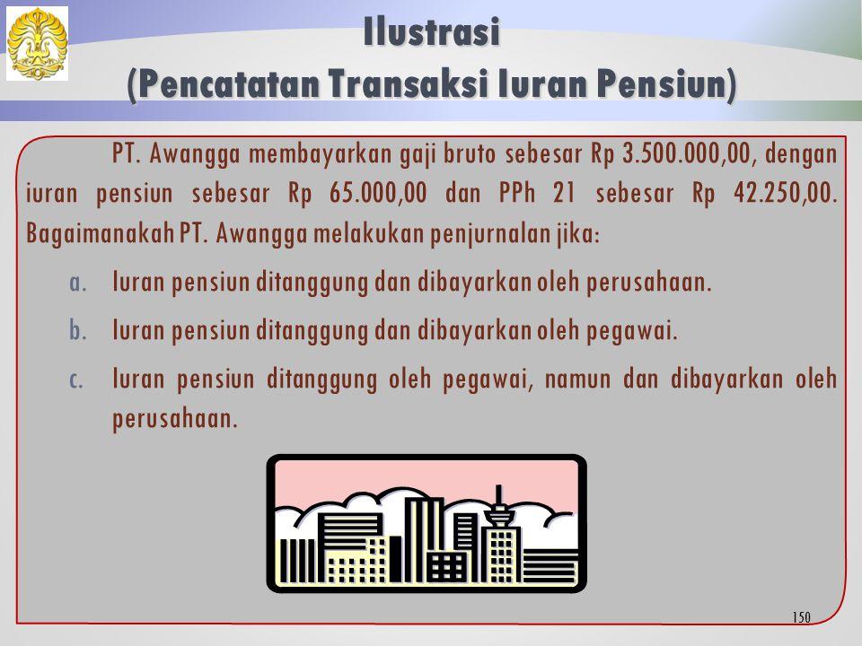 Pencatatan Transaksi PPh 21  Pembayaran Imbalan oleh Pemberi Kerja  Jumlah yang ditanggung pemberi kerja  Menambah beban gaji.