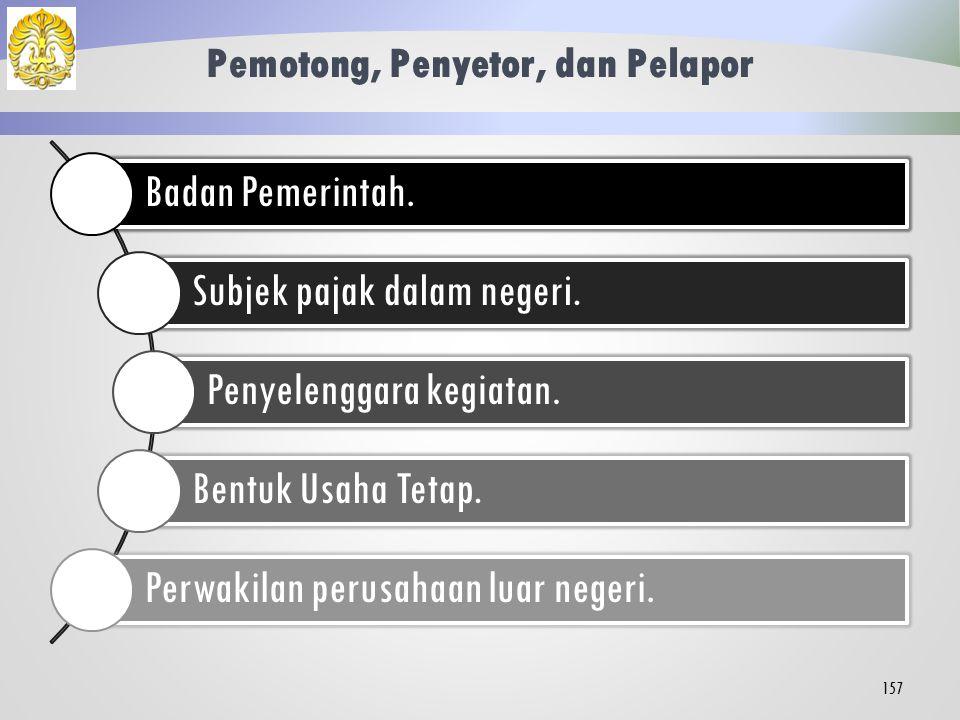Definisi 156 Pajak yang dikenakan atas penghasilan berasal dari Indonesia yang diterima atau diperoleh WP luar negeri selain BUT.