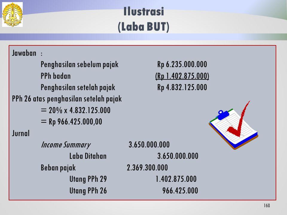 Jawaban: Peredaran bruto Rp 24.000.000.000 Biaya operasi dan non operasi(Rp 20.350.000.000) Koreksi fiskal positif Rp 2.585.000.000 Penghasilan Kena Pajak Rp 6.235.000.000 Bagian PKP terkena keringanan tarif pasal 31E = 4.800.000.000/ 24.000.000 * 6.235.000.000 = Rp 1.247.000.000 PPh badan atas penghasilan BUT = 50% x 25% x 1.247.000.000 + 25% x (6.235.000.000 - 1.247.000.000) = 12,5% x 1.247.000.000 + 25% x 4.988.000.000 = 155.875.000 + 1.247.000.000 = Rp 1.402.875.000 Ilustrasi (Laba BUT) 167