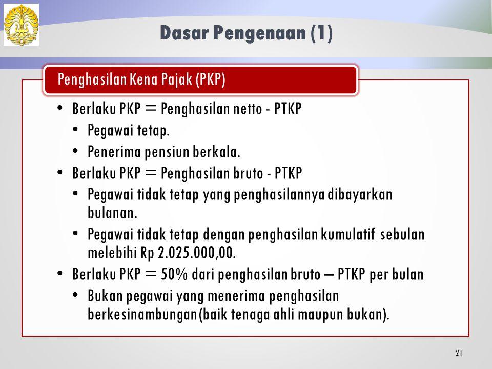 Kepemilikan NPWP 20 Bagi wajib pajak tidak memiliki NPWP, maka untuk setiap lapisan tarif dikenakan persentase 20% lebih tinggi.