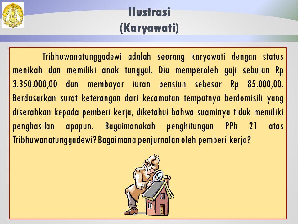 Penghasilan Karyawati 37 Atas suami yang berstatus memiliki penghasilan, karyawati tidak berhak atas pengurangan elemen PTKP Status Kawin sebesar Rp 2.025.000,00.