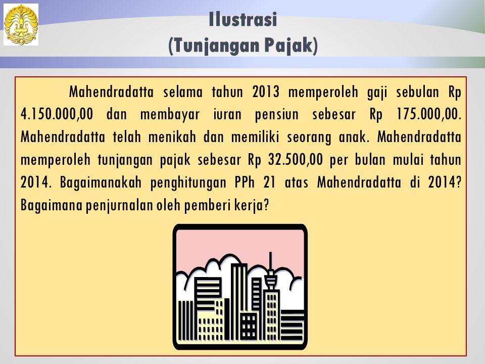 Ilustrasi (Karyawati) 39 Jawaban: Jurnal Pemberi Kerja Beban Gaji3.350.000 Utang Dana Pensiun 85.000 Utang PPh 21 45.188 Kas3.219.812 Jika suami Tribhuwanatunggadewi memiliki pekerjaan, maka PTKP yang diberikan kepadanya hanya PTKP WP sendiri sebesar Rp 24.300.000,00.