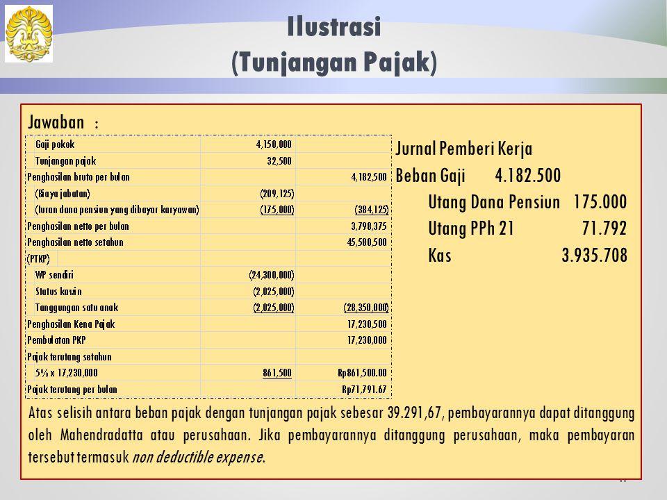 Ilustrasi (Tunjangan Pajak) 40 Mahendradatta selama tahun 2013 memperoleh gaji sebulan Rp 4.150.000,00 dan membayar iuran pensiun sebesar Rp 175.000,00.