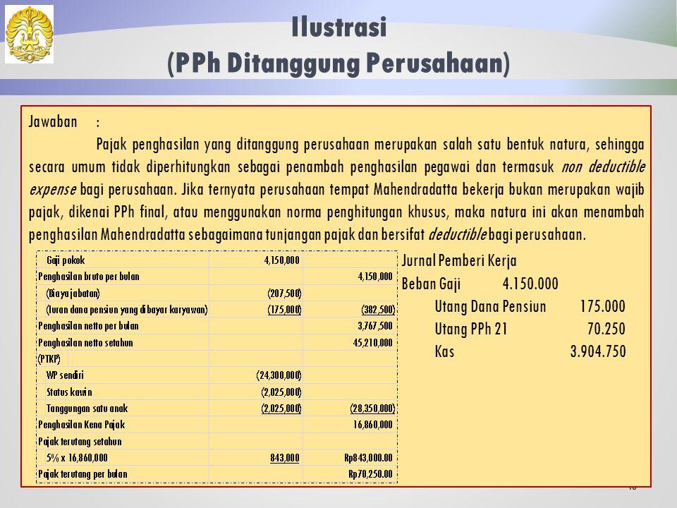 Ilustrasi (PPh Ditanggung Perusahaan) 42 Mahendradatta, sebagaimana dideskripsikan dalam ilustrasi sebelumnya ternyata berkeberatan dengan rencana pemberian tunjangan pajak oleh perusahaan.