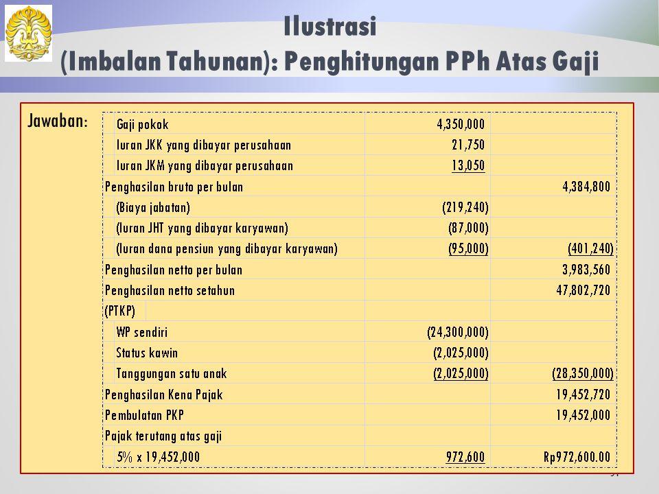 Ilustrasi (Imbalan Tahunan) 50 Ken Arok adalah pegawai yang menikah dengan satu anak dan memperoleh gaji sebulan Rp 4.350.000.
