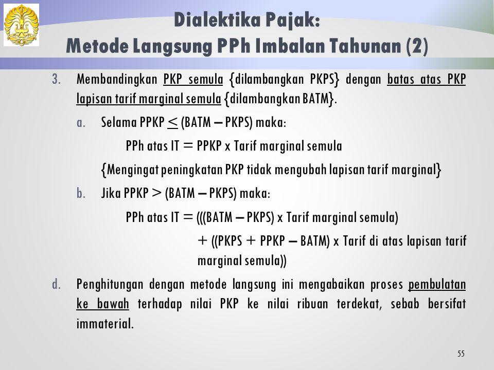 Dialektika Pajak: Metode Langsung PPh Imbalan Tahunan (1) PPh atas imbalan tahunan (bonus, THR, dan sejenisnya) dan uang rapel {dilambangkan IT} dapat dihitung dengan metode langsung, langkah penghitungan sebagai berikut.