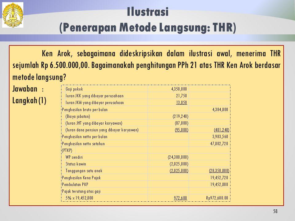 Jawaban: Langkah (2)PBS= 3.750.000 x 12 = 45.000.000 PBS + IT= 45.000.000 + 8.000.000 = 53.000.000 (PBS + IT) < 120.000.000, maka: PPKP= 95% x 8.000.000 = 7.600.000 Langkah (3)BATM – PKPS= 50.000.000 – 8.550.000 = 41.450.000 PPKP < (BATM – PKPS), maka: PPh atas IT= 5% x 7.600.000 = Rp 380.000,00 Maka besaran PPH 21 atas uang rapel yang diterima Kertarajasa adalah Rp 380.000,00.