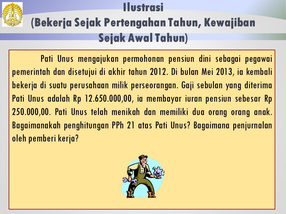 Ilustrasi (Natura) 61 Jawaban: Jurnal Pemberi Kerja Beban Gaji3.425.000 Utang PPh 21 53.000 Kas3.097.000 Persediaan 275.000
