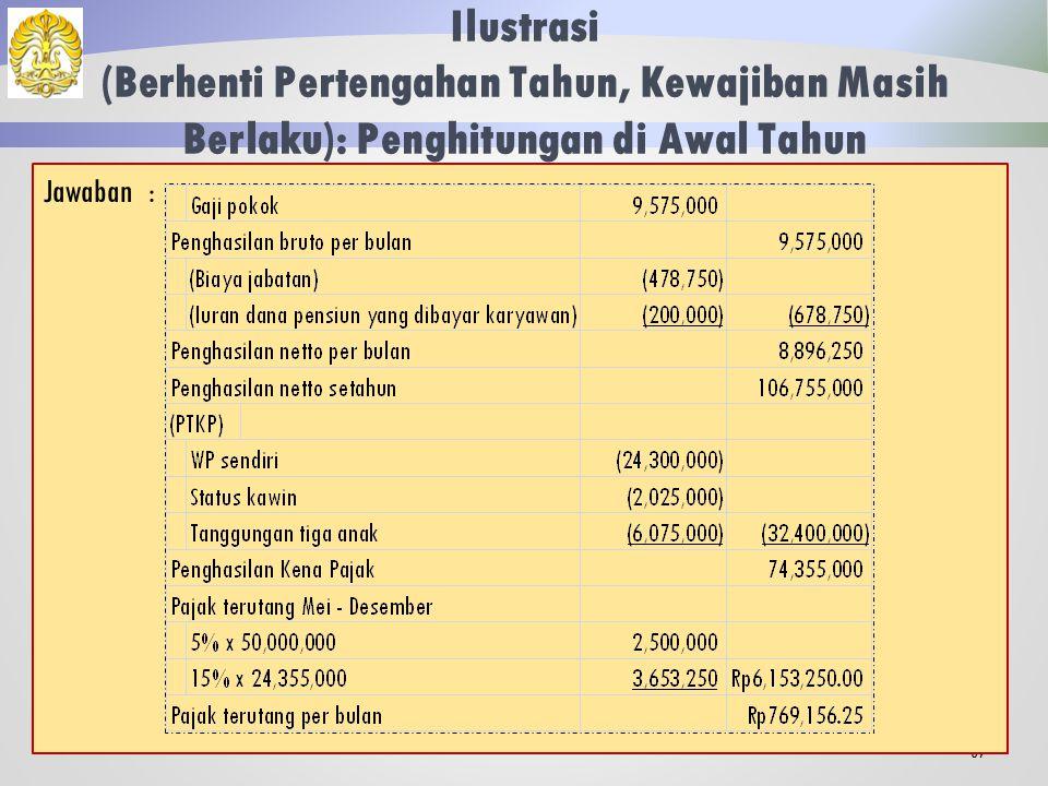 Ilustrasi (Berhenti Pertengahan Tahun, Kewajiban Masih Berlaku) 66 Fatahillah memperoleh gaji sebulan sebesar Rp 9.575.000,00.