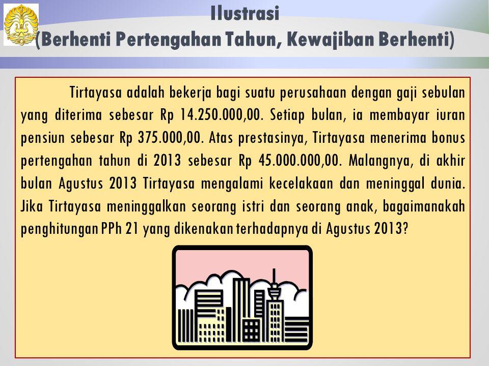 Ilustrasi (Berhenti Pertengahan Tahun, Kewajiban Masih Berlaku): Penghitungan Saat Berhenti 68 Jawaban: Atas besaran pajak lebih bayar, perusahaan wajib mengembalikannya kepada Fatahillah.