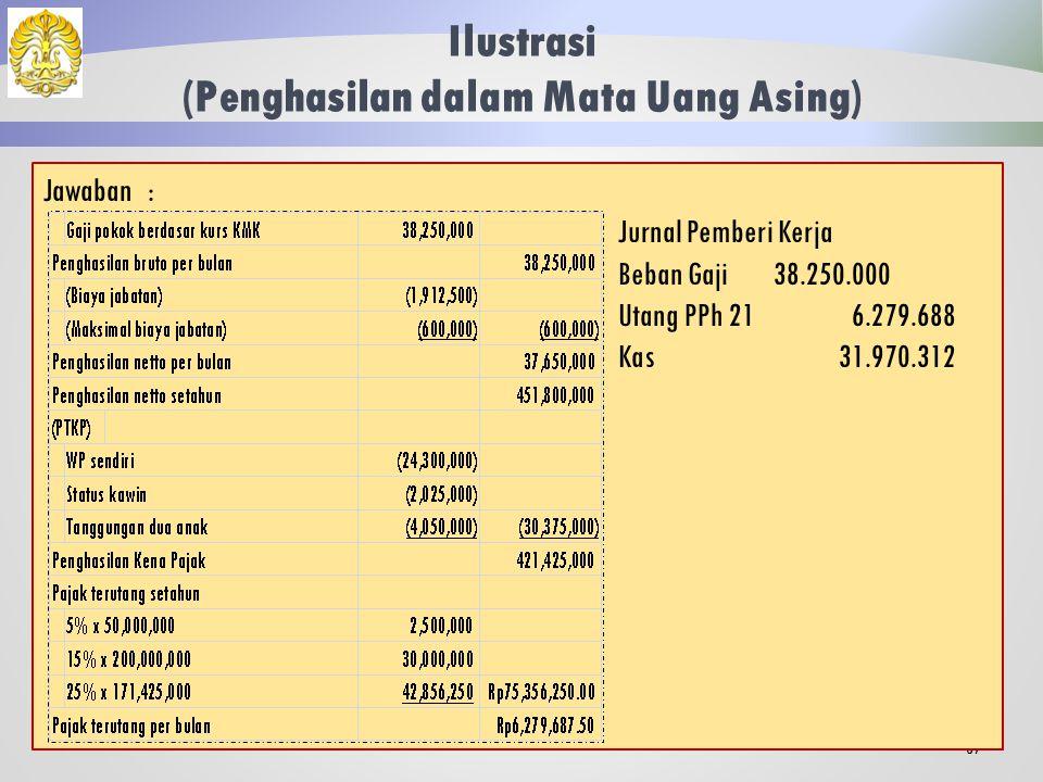 Ilustrasi (Penghasilan dalam Mata Uang Asing) 86 Kesselring adalah pegawai tetap yang memperoleh gaji sebulan $ 3,750 yang dibayarkan dalam mata uang asing.