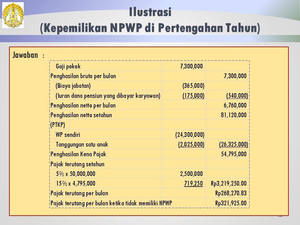 Ilustrasi (Kepemilikan NPWP di Pertengahan Tahun) 89 Bahureksa merupakan pegawai baru yang memperoleh gaji sebulan Rp 7.300.000,00 dan membayar iuran pensiun sebesar Rp 175.000,00.