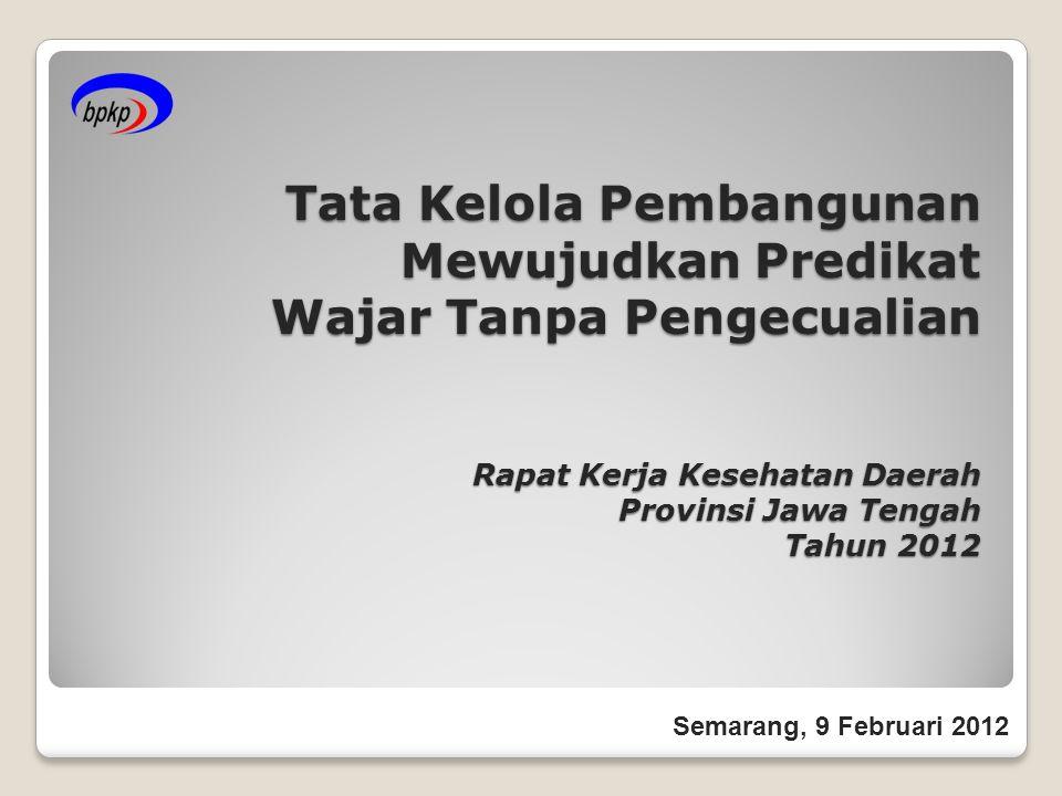 Tata Kelola Pembangunan Mewujudkan Predikat Wajar Tanpa Pengecualian Rapat Kerja Kesehatan Daerah Provinsi Jawa Tengah Tahun 2012 Semarang, 9 Februari 2012