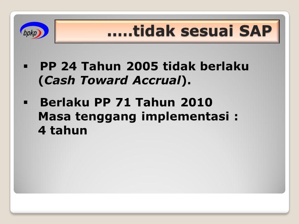..…tidak sesuai SAP  PP 24 Tahun 2005 tidak berlaku (Cash Toward Accrual).