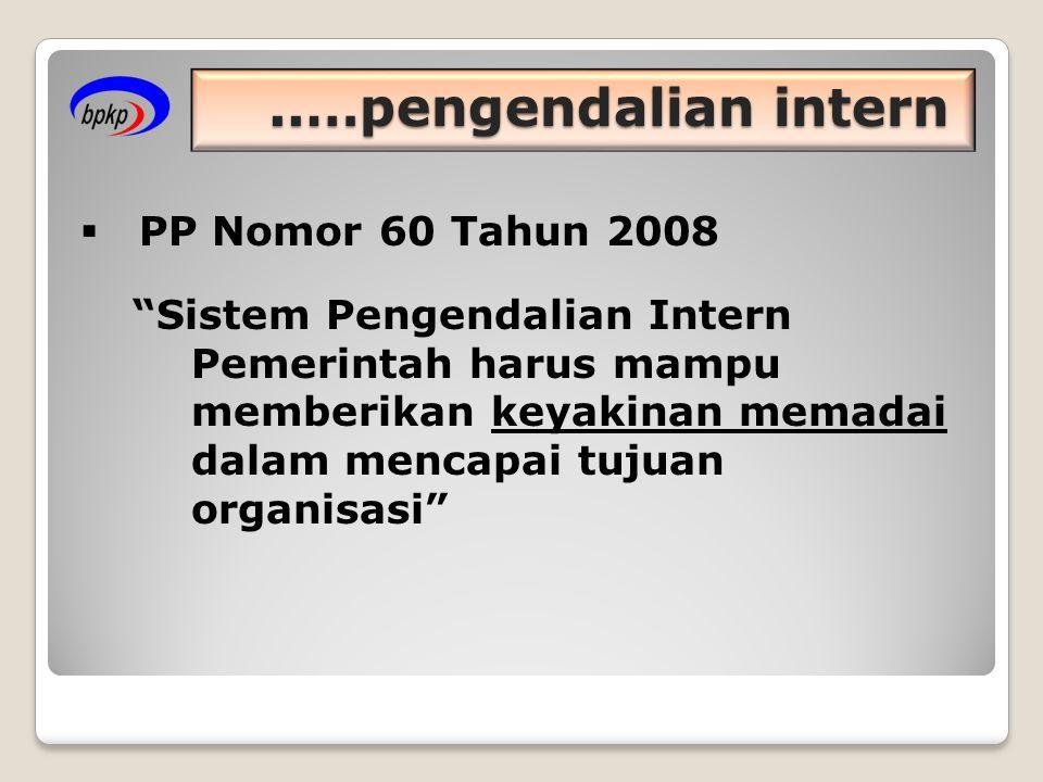 ..…pengendalian intern  PP Nomor 60 Tahun 2008 Sistem Pengendalian Intern Pemerintah harus mampu memberikan keyakinan memadai dalam mencapai tujuan organisasi