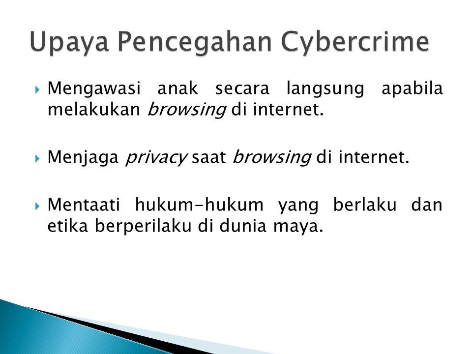  Mengawasi anak secara langsung apabila melakukan browsing di internet.  Menjaga privacy saat browsing di internet.  Mentaati hukum-hukum yang berl