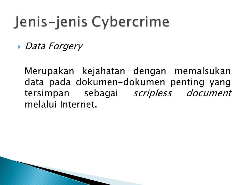  Data Forgery Merupakan kejahatan dengan memalsukan data pada dokumen-dokumen penting yang tersimpan sebagai scripless document melalui Internet.