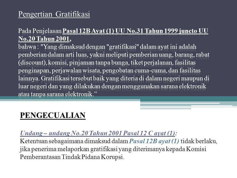 PENGECUALIAN Undang – undang No.20 Tahun 2001 Pasal 12 C ayat (1): Ketentuan sebagaimana dimaksud dalam Pasal 12B ayat (1) tidak berlaku, jika penerim