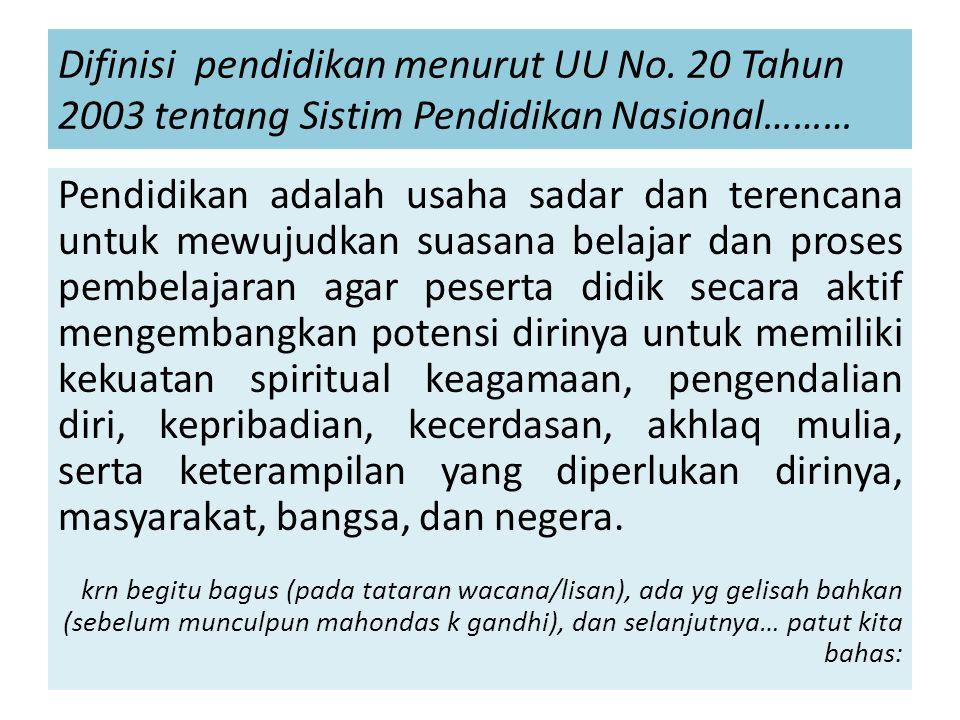 Difinisi pendidikan menurut UU No.
