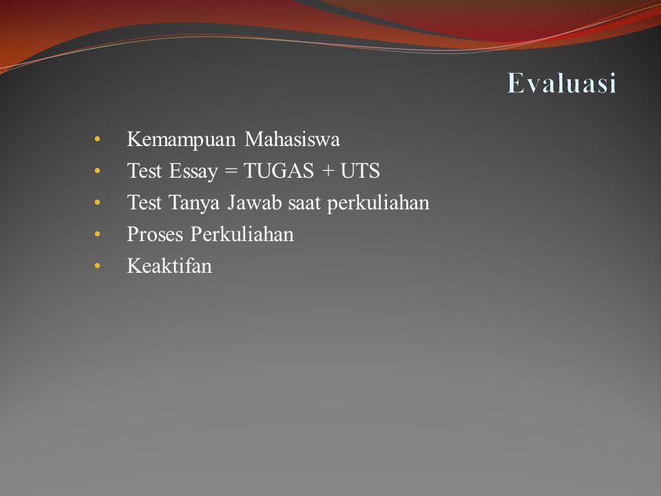 • Kemampuan Mahasiswa • Test Essay = TUGAS + UTS • Test Tanya Jawab saat perkuliahan • Proses Perkuliahan • Keaktifan