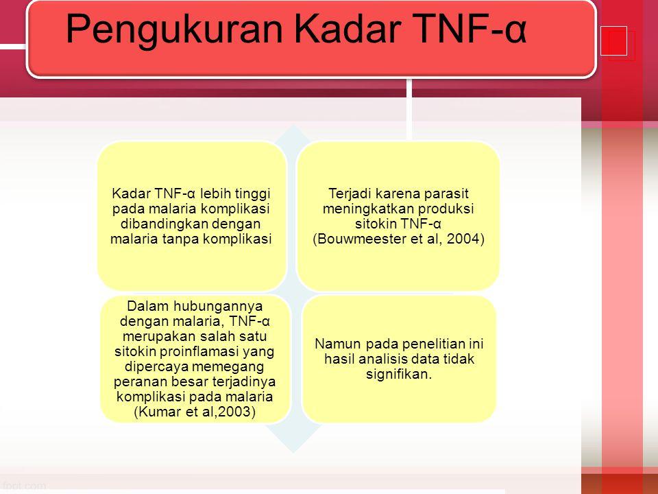 Kadar TNF-α lebih tinggi pada malaria komplikasi dibandingkan dengan malaria tanpa komplikasi Terjadi karena parasit meningkatkan produksi sitokin TNF
