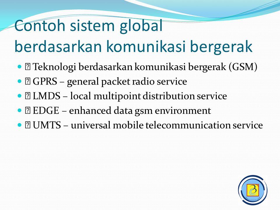 Contoh sistem global berdasarkan komunikasi bergerak   Teknologi berdasarkan komunikasi bergerak (GSM)   GPRS – general packet radio service   L