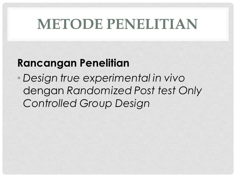 METODE PENELITIAN Rancangan Penelitian • Design true experimental in vivo dengan Randomized Post test Only Controlled Group Design