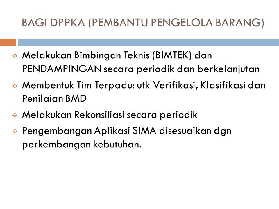 BAGI INSPEKTORAT (PENGAWAS INTERNAL)  Melakukan Pengawasan internal dalam pengelolaan BMD terhadap seluruh SKPD dan UPTD secara periodik tiap semesteran.