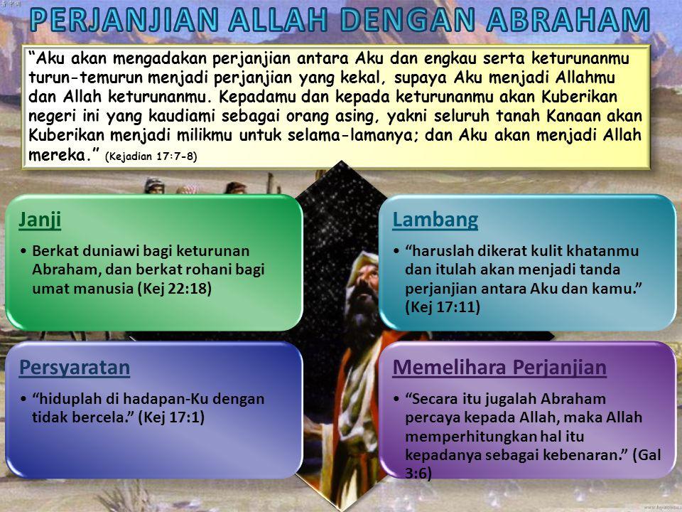 Janji •Sama seperti Abraham.Lambang •Loh-loh hukum, tabut perjanjian, roti, garam...