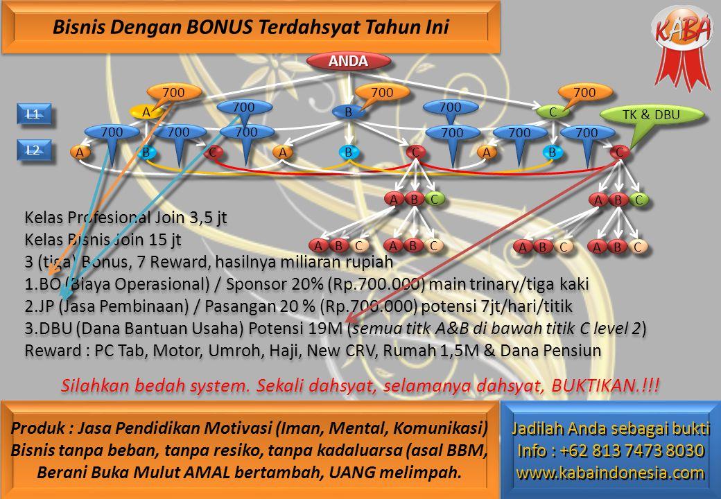 700 Kelas Profesional Join 3,5 jt Kelas Bisnis Join 15 jt 3 (tiga) Bonus, 7 Reward, hasilnya miliaran rupiah 1.BO (Biaya Operasional) / Sponsor 20% (Rp.700.000) main trinary/tiga kaki 2.JP (Jasa Pembinaan) / Pasangan 20 % (Rp.700.000) potensi 7jt/hari/titik 3.DBU (Dana Bantuan Usaha) Potensi 19M (semua titk A&B di bawah titik C level 2) Reward : PC Tab, Motor, Umroh, Haji, New CRV, Rumah 1,5M & Dana Pensiun Silahkan bedah system.