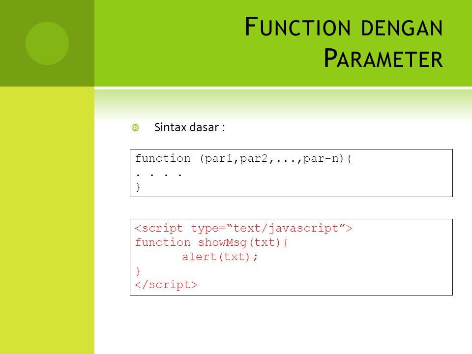F UNCTION DENGAN P ARAMETER  Sintax dasar : function (par1,par2,...,par-n){..